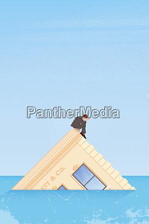 businessman sitting on sinking company headquarters
