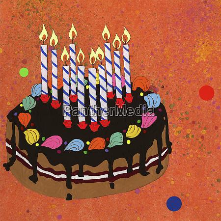 ten candles burning on birthday cake