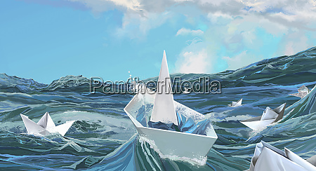 paper boats sinking on stormy sea