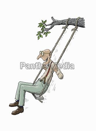 elderly man having fun on rope