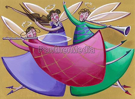 three christmas angels playing music
