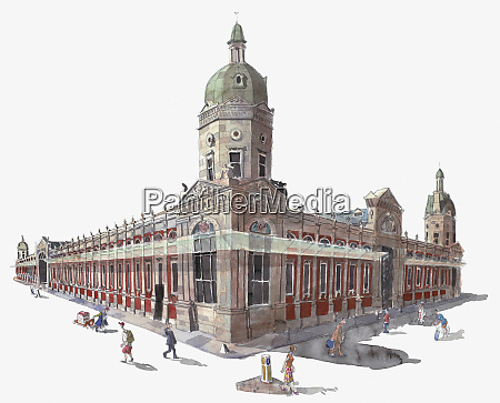 watercolor painting of smithfield market london