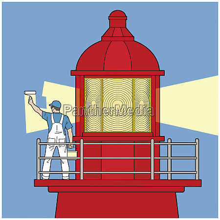 decorator painting light beam on lighthouse