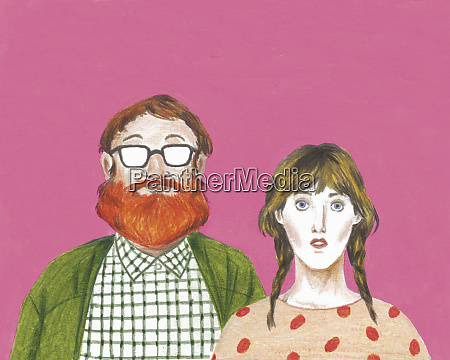 portrait of geeky couple looking at
