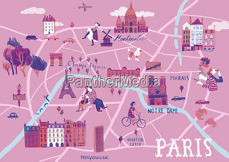 illustrated map of paris france