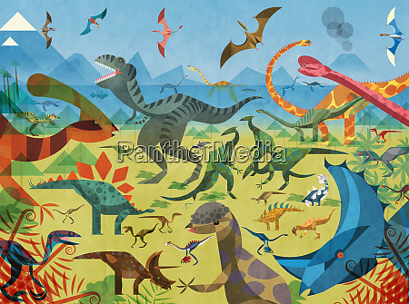 lots of different dinosaurs in colourful