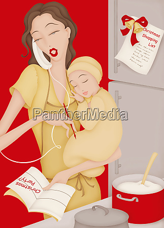 busy mother in multitasking in kitchen