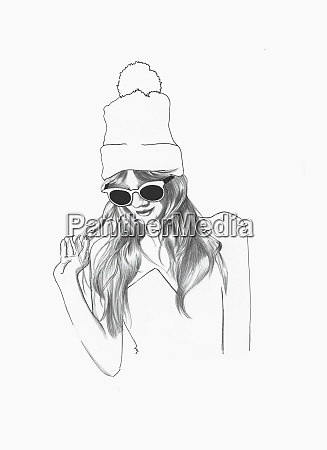 fashionable, young, woman, wearing, sunglasses, and - 26020457