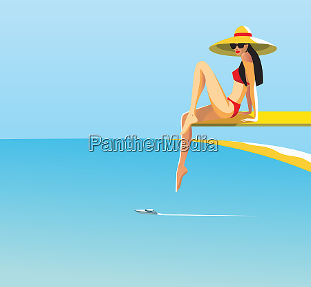 beautiful woman posing on diving board