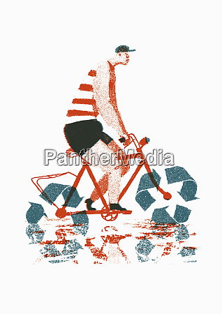 man riding bike with recycling symbol
