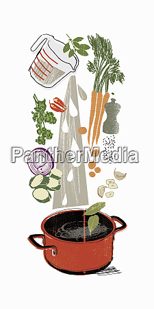 cooking ingredients pouring into stock pot