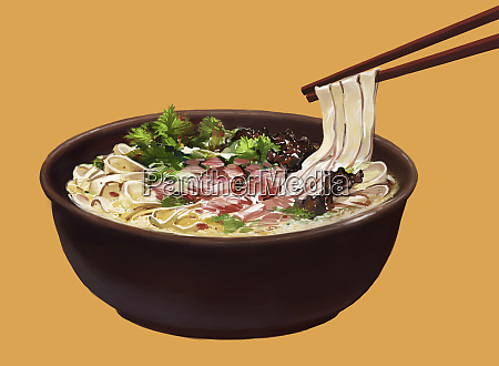 chopsticks lifting noodles from bowl of