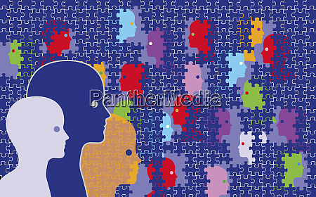 faces being covered by jigsaw puzzle