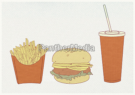 french fries hamburger and fizzy drink