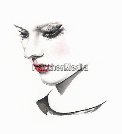 sad woman crying with smudged makeup