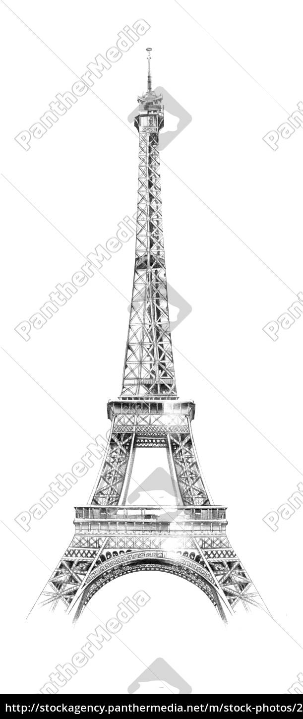 drawing, of, the, eiffel, tower, , paris - 26021786