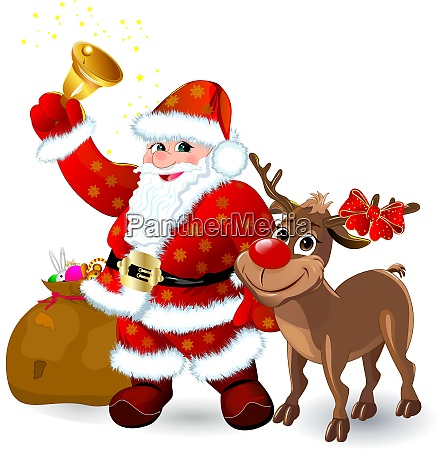 santa, with, bell, and, reindeer - 26021898
