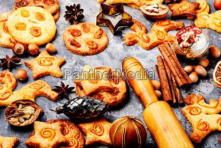 christmas cookie on slate background