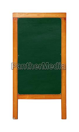 green standing chalkboard menu in wooden