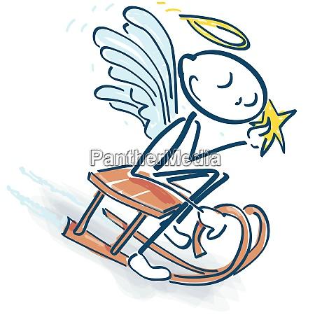 stick figure as a little angel