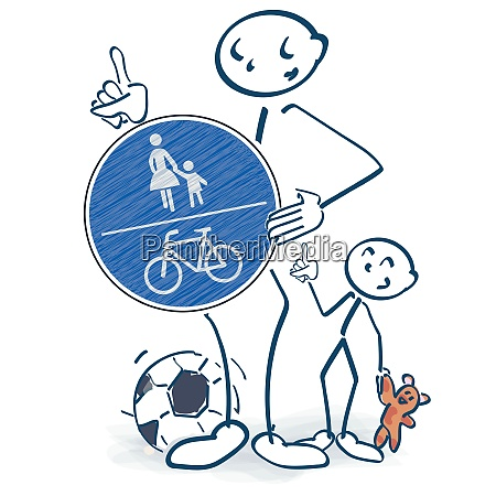 stick figures with a pedestrian and