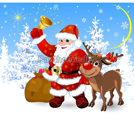 santa, and, reindeer, on, the, eve - 26023517