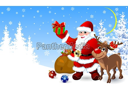santa and deer with gifts for