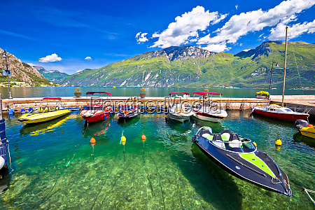 speed boats on colorful lago di