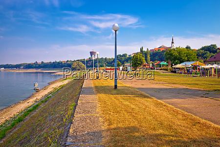 vukovar city and danube river coast