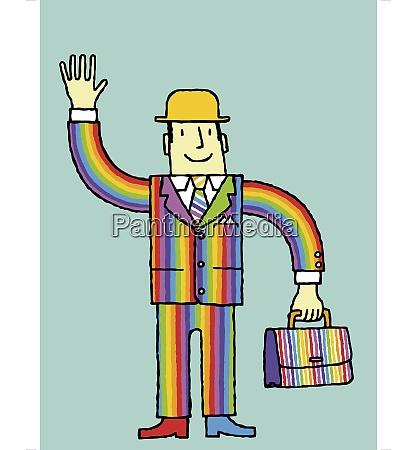 businessman, in, rainbow, suit, waving - 26028038