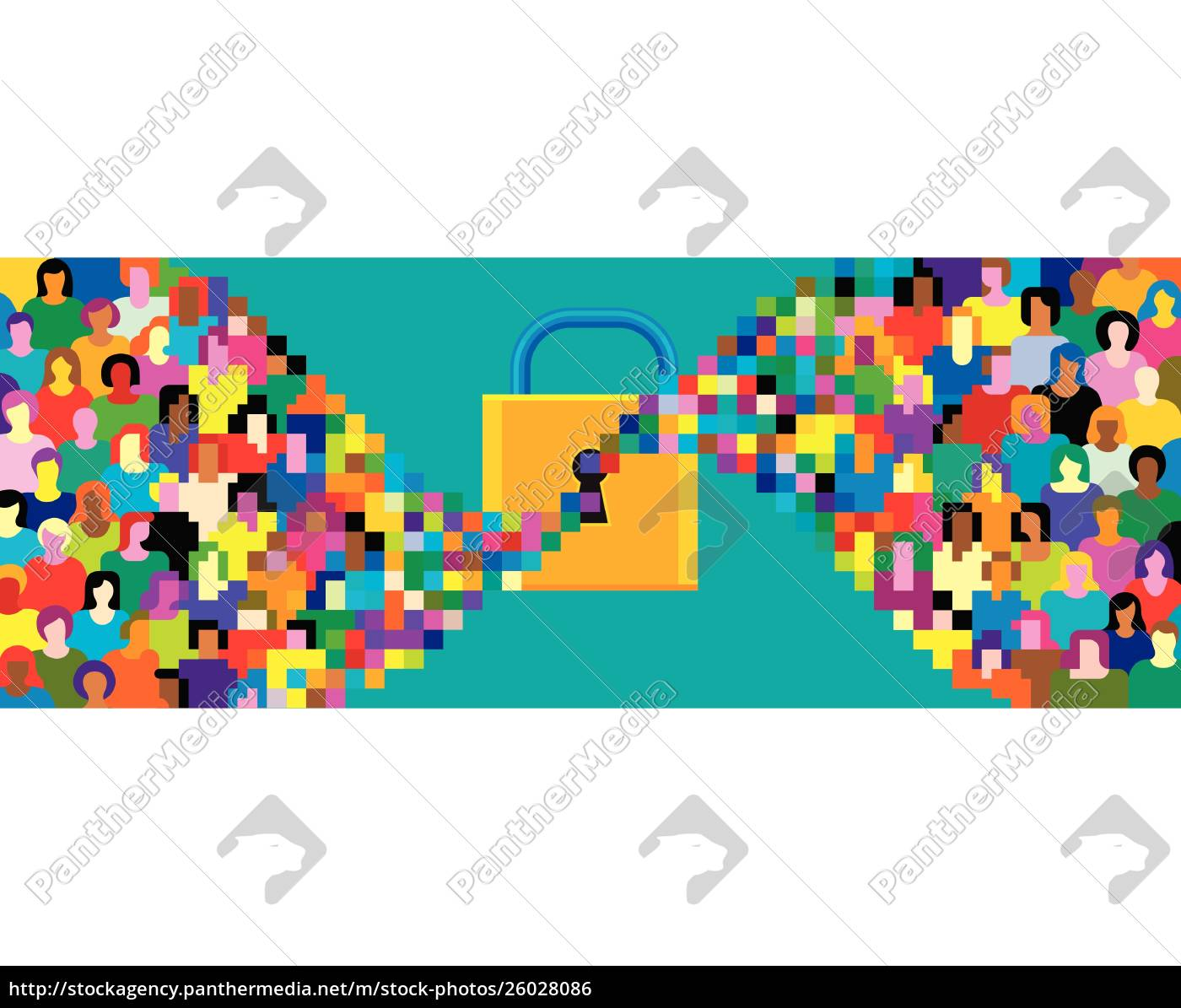pixelated, crowd, streaming, into, padlock - 26028086
