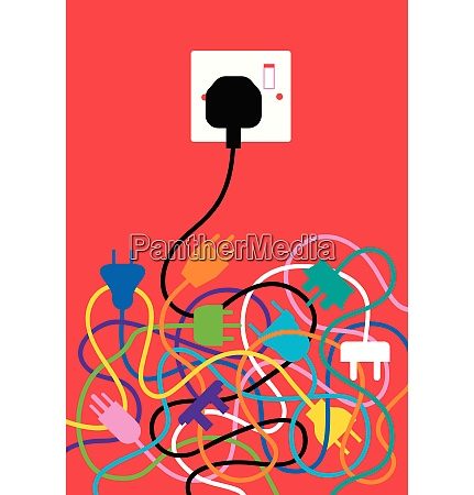 tangled, cables, with, one, plug, fitting - 26028159