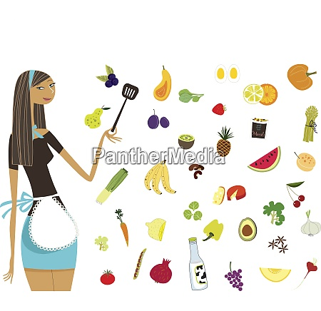 woman, in, apron, standing, with, healthy - 26028040