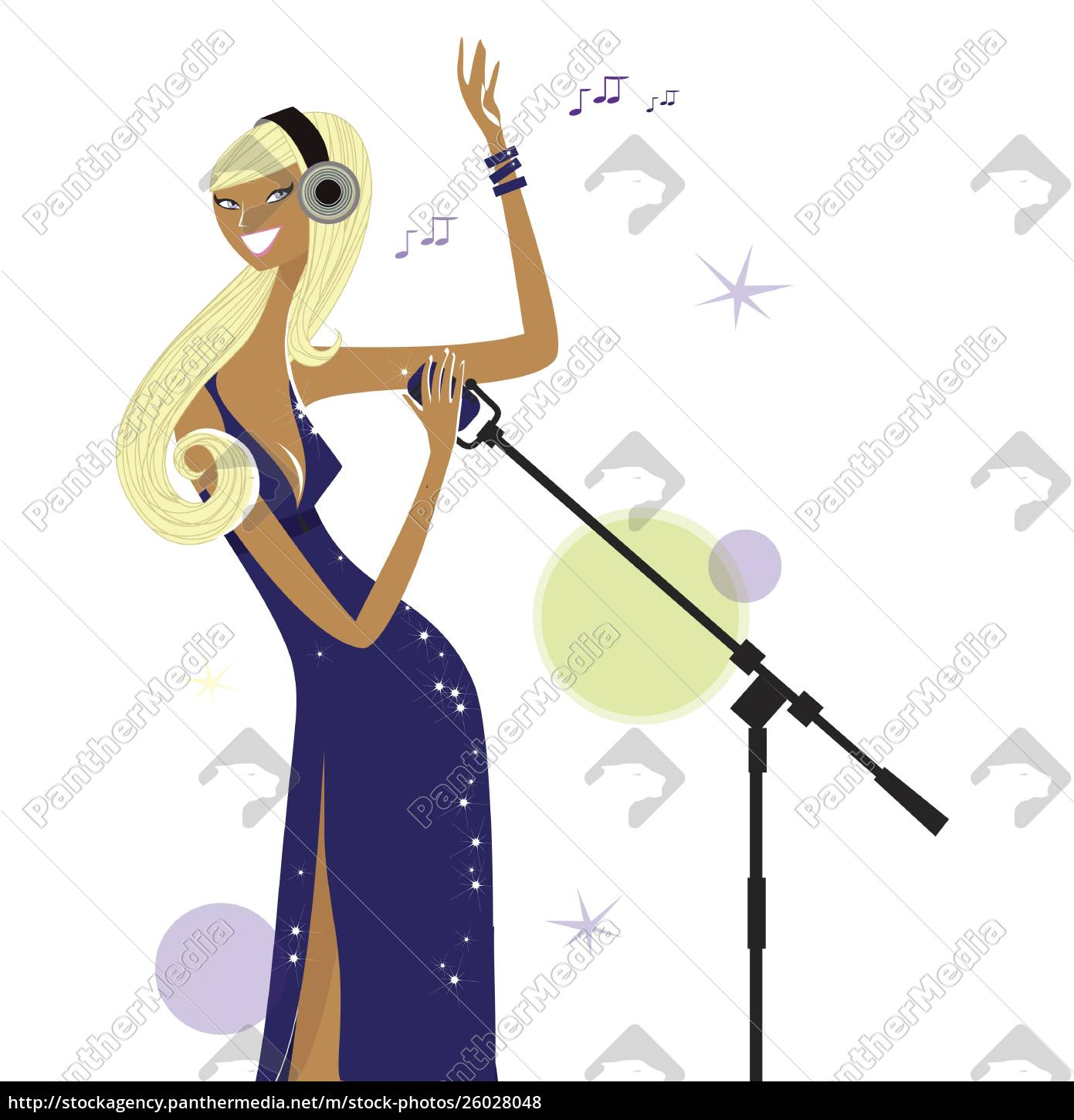 woman, singing, into, microphone - 26028048