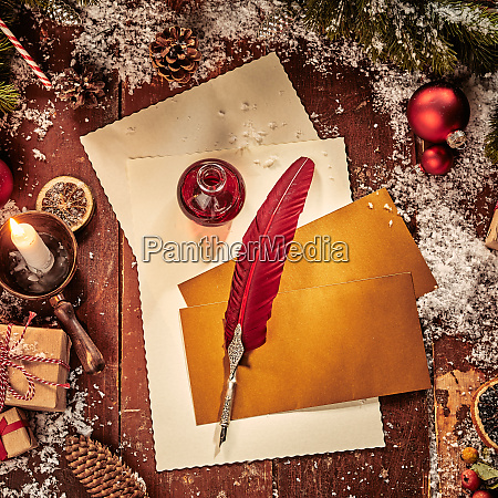 vintage christmas flat lay with paper