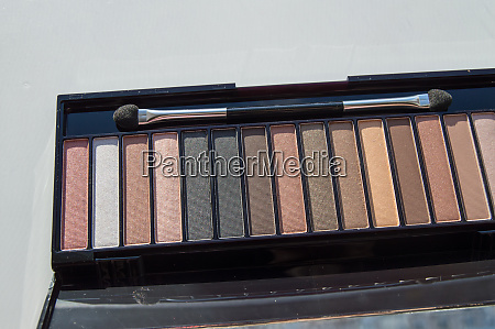 cosmetic palette with brush and eye
