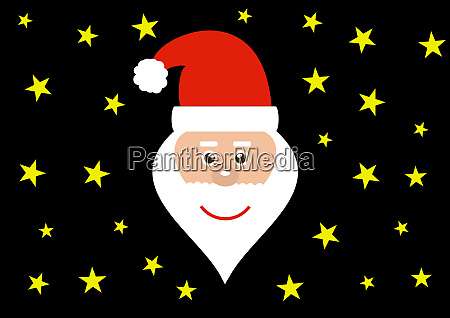 head of friendly santa with black