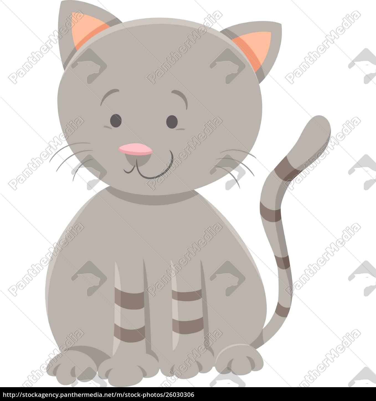 cute, gray, kitten, cartoon, animal, character - 26030306