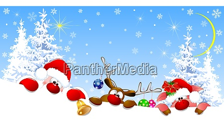 santa deer and piglet on christmas