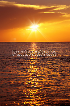 colorful empty seascape with shiny sea