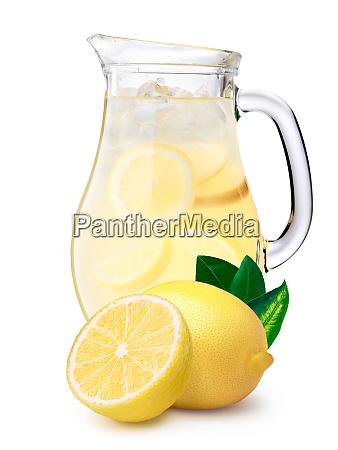 iced lemonade pitcher with lemons