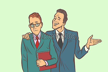 one businessman comforts supports sympathetic feels