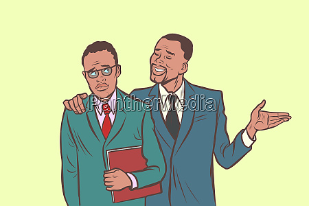 african businessman comforts supports sympathetic feels