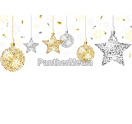 christmas background with glitter ornaments