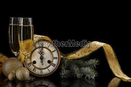 champagne clock and christmas ornaments
