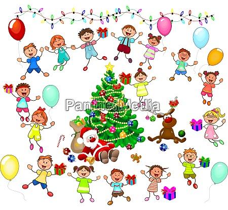 santa and joyful children