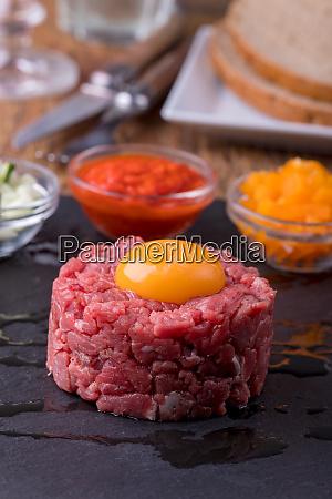 steak tartare with an egg on