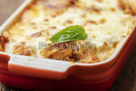 closeup of home made lasagna on