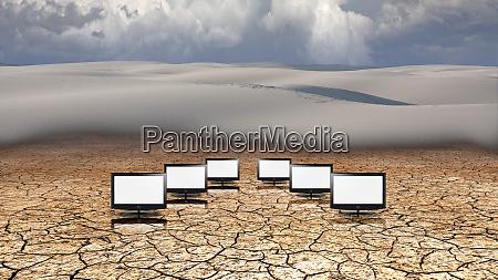 monitors in the desert