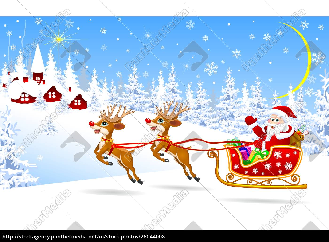 santa, on, a, sleigh, with, deers - 26044008